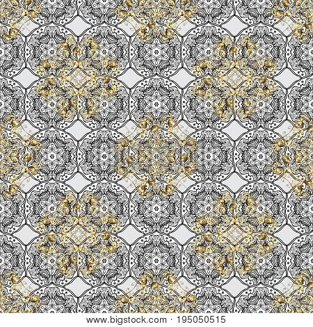 Openwork delicate golden pattern. Brilliant lace stylized flowers paisley. Seamless pattern on gray background with golden elements. Vector oriental style arabesques. Seamless golden texture curls.