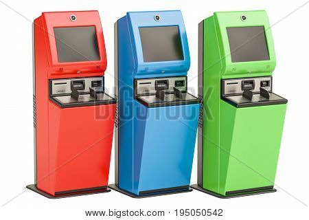Digital touchscreen terminals. Financial services kiosks 3D rendering isolated on white background