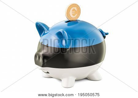 Piggy bank with flag of Estonia and golden euro coin. Investments and business concept 3D rendering