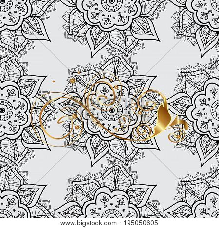 Winter symbol Merry Christmas holiday Happy New Year 2018. Abstract sketch wrapping decoration. Vector golden pattern on gray background with golden element. Golden snowflake seamless pattern.