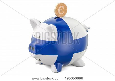 Piggy bank with flag of Finland and golden euro coin. Investments and business concept 3D rendering