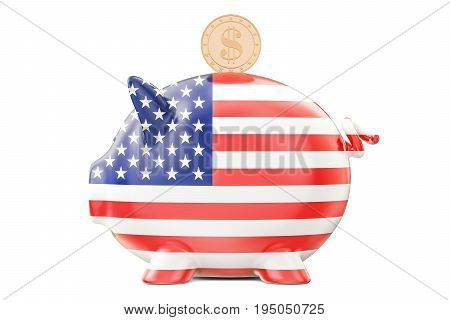Piggy bank with flag of USA and golden dollar coin. Investments and business concept 3D rendering