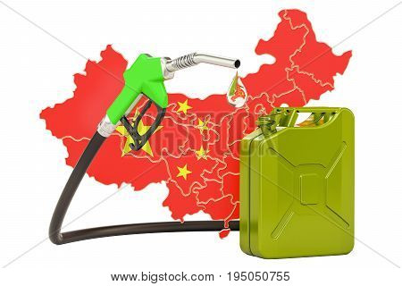 Production and trade of petrol in China concept. 3D rendering isolated on white background