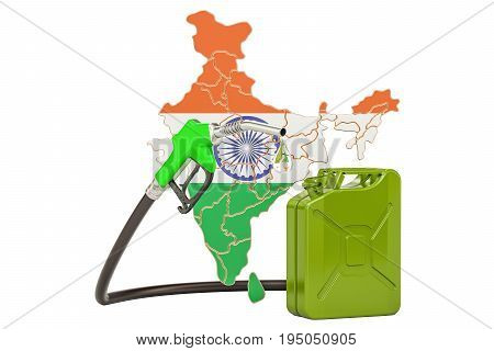 Production and trade of petrol in India concept. 3D rendering isolated on white background