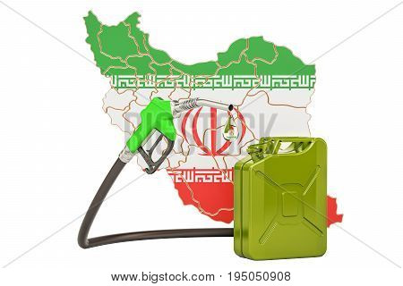 Production and trade of petrol in Iran concept. 3D rendering isolated on white background