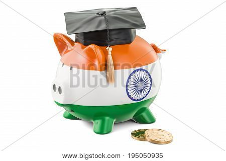 Savings for education in India concept 3D rendering isolated on white background