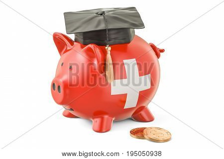 Savings for education in Switzerland concept 3D rendering isolated on white background
