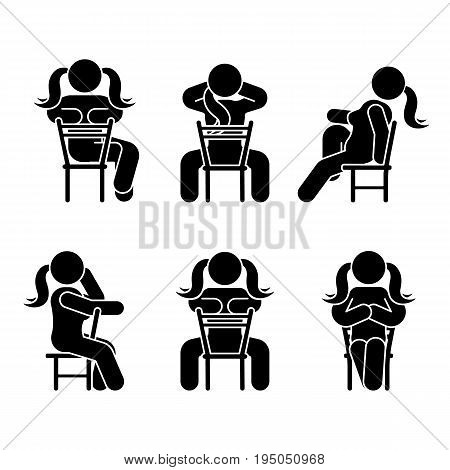 Woman people various sitting position. Posture stick figure. Vector seated person icon symbol sign pictogram on white