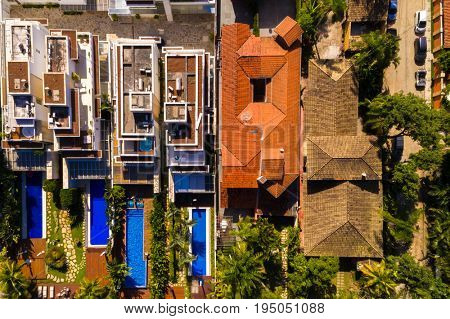 Top View of Luxury Homes in Beachfront