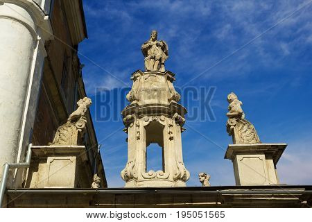 Sculptures of the Cathedral of Saint Peter and Paul in Kamyanets-Podilsky city Ukraine