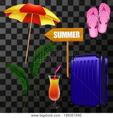 Items for summer illustration: beach umbrella, slippers, palm leaves, wooden pointer, suitcase, a glass of cocktail with a transparent background. Realistic vector objects 3d