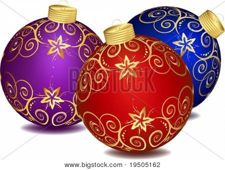 Christmas decorations Set decorated with colourful balloons isolated on a white background VECTOR (See Jpeg Also In My Portfolio)