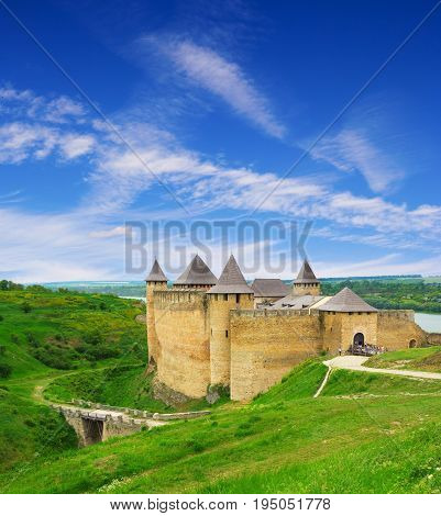 Stunning view on the Hotyn fortress and the bridge Ukraine