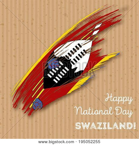 Swaziland Independence Day Patriotic Design. Expressive Brush Stroke In National Flag Colors On Kraf