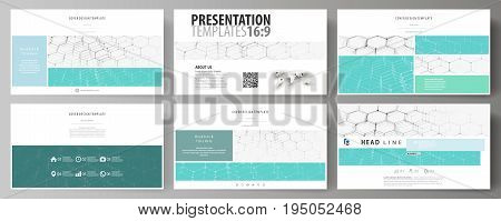 Business templates in HD format for presentation slides. Easy editable abstract vector layouts in flat design. Chemistry pattern, hexagonal molecule structure on blue. Medicine, science and technology concept.