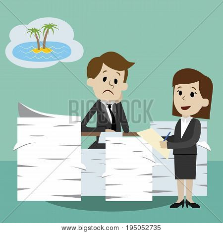 Vector illustration in flat cartoon style. Business and vacation