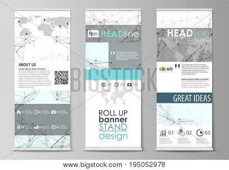 Set of roll up banner stands, flat design templates, abstract geometric style, modern business concept, corporate vertical vector flyers, flag layouts. Chemistry pattern, connecting lines and dots, molecule structure on white, geometric graphic background