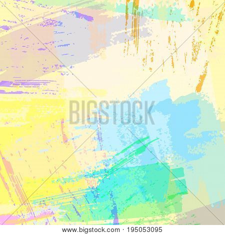 Vector hand drawn abstract square backdrop. Cool painted vector texture. Hand painted design in bright colors.