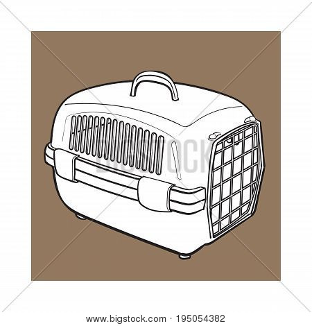 Plastic pet travel carrier for transporting cats, dogs, sketch style vector illustration isolated on brown background. Hand drawn plastic pet carrier, transport, housing on brown background