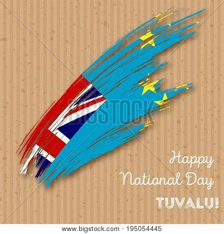 Tuvalu Independence Day Patriotic Design. Expressive Brush Stroke In National Flag Colors On Kraft P