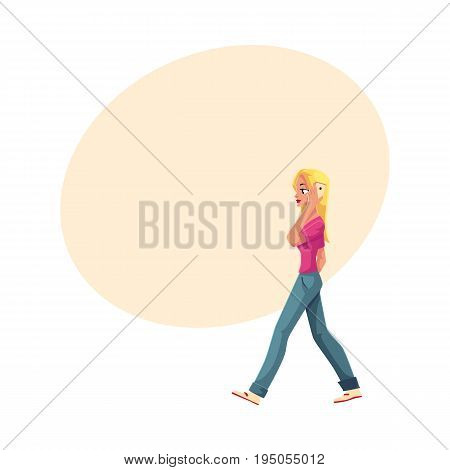 Young woman walking with smartphone, talking by mobile phone, cartoon vector illustration with space for text. Full length portrait of woman, girl in jeans and t-shirt talking by mobile phone