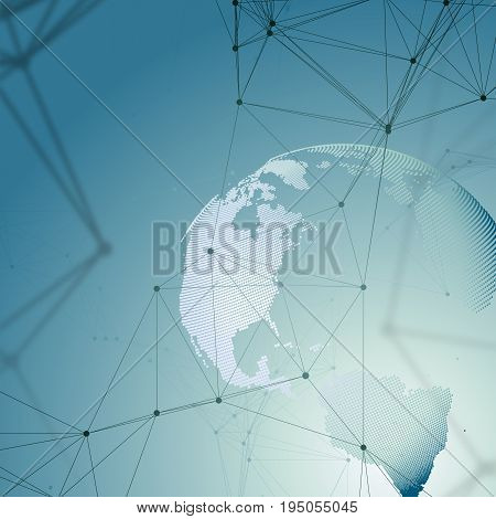 Abstract futuristic network shapes. High tech background, connecting lines and dots, polygonal linear texture. World map on blue. Global network connections, geometric design, dig data concept