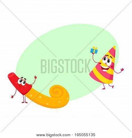Smiling birthday party characters - spriped hat and horn, blower, noise maker, cartoon vector illustration with space for text. Funny birthday party hat and horn, blower characters, mascots