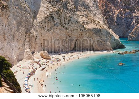PORTO KATSIKI BEACH June 28,2017 . View of Porto Katsiki beach, Lefkada Greece