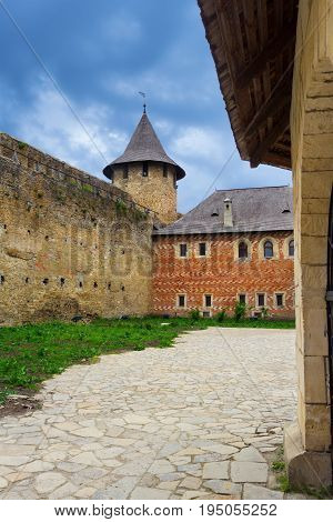 Khotyn Ukraine - 21 May 2017: Inside of the Khotyn castle in Ukraine. Interesting building with catacombs inside. The fortress was designed so that it was nearly impossible to conquer it.