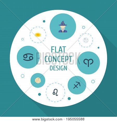 Flat Icons Crab, Lunar, Comet And Other Vector Elements. Set Of Astrology Flat Icons Symbols Also Includes Galaxy, Crab, Comet Objects.