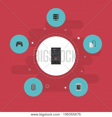 Flat Icons Storage Device, Palmtop, Datacenter And Other Vector Elements. Set Of Laptop Flat Icons Symbols Also Includes Mouse, Joystick, Datacenter Objects.