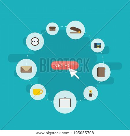 Flat Icons Letter, Watch, Suitcase And Other Vector Elements. Set Of Bureau Flat Icons Symbols Also Includes Mail, Plant, Cup Objects.