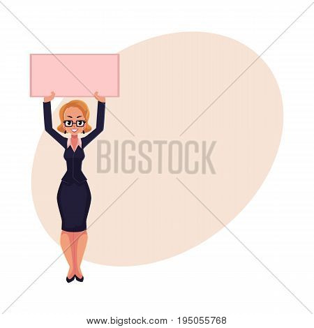 Girl, woman, businesswoman on strike holding empty board over head with two hands, cartoon vector illustration with space for text. Businesswoman, woman with empty board on strike