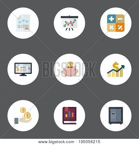 Flat Icons Safe, Algebra, Profit And Other Vector Elements. Set Of Accounting Flat Icons Symbols Also Includes Accounting, Whiteboard, Increase Objects.