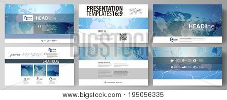The minimalistic abstract vector illustration of the editable layout of high definition presentation slides design business templates. World map on blue, geometric technology design, polygonal texture.