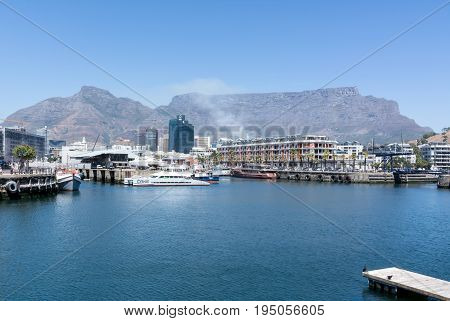 Cape Town South Africa - March 02 2017: Cape Town Harbour with Table Mountain in background