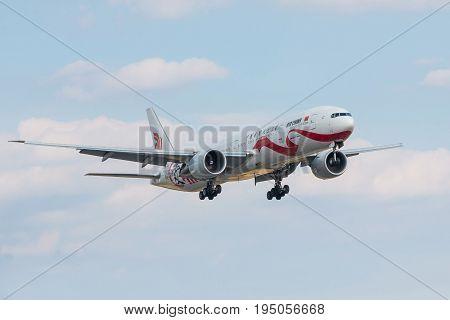 London UK - July 9 2017: Boeing 777-300ER landing at London Heathrow airport