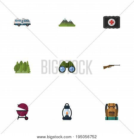 Flat Icons Fist Aid, Weapon, Hill And Other Vector Elements. Set Of Camping Flat Icons Symbols Also Includes Barbecue, Baggage, Mount Objects.