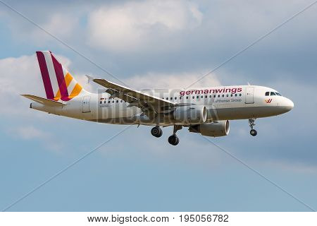 London UK - July 9 2017: Airbus A319-100 German Wings landing at London Heathrow Airport