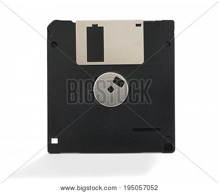 Back view of an old floppy disk isolated on white background.