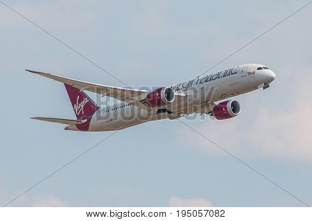 LONDON UK - JULY 9 2017: Plane Boeing 787 Dreamliner Virgin Atlantic Airlines takes off from London Heathrow Airport