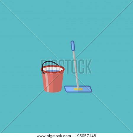 Flat Icon Bucket With Besom Element. Vector Illustration Of Flat Icon Mopping Isolated On Clean Background. Can Be Used As Bucket, Besom And Mopping Symbols.