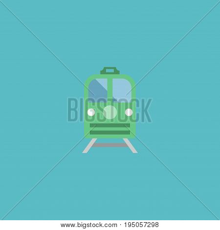 Flat Icon Electric Train Element. Vector Illustration Of Flat Icon Metro Isolated On Clean Background. Can Be Used As Train, Subway And Electric Symbols.