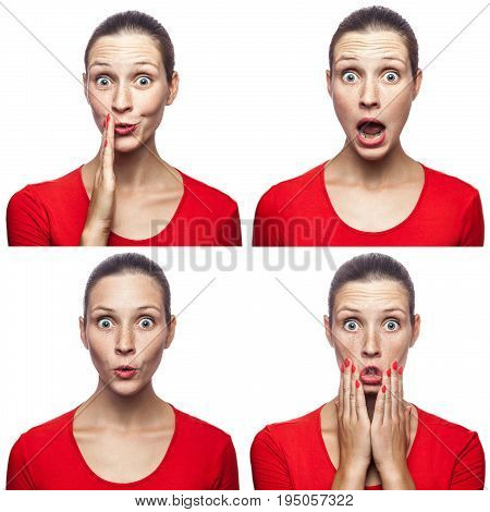Mosaic of the surprised or shocked girl with freckles and red t-shirt with four different amazed emotions. isolated on white. studio shot.