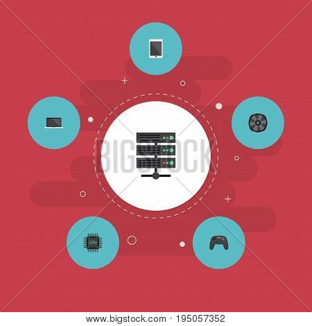 Flat Icons Cooler, Datacenter, Microprocessor And Other Vector Elements. Set Of Laptop Flat Icons Symbols Also Includes Joystick, Cooler, Motherboard Objects.