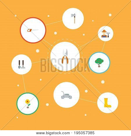 Flat Icons Lawn Mower, Green Wood, Hacksaw And Other Vector Elements. Set Of Agriculture Flat Icons Symbols Also Includes Garden, Plant, Rubber Objects.