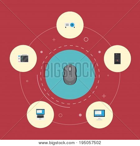 Flat Icons Slot Machine, Presentation, Display And Other Vector Elements. Set Of Computer Flat Icons Symbols Also Includes Play, Projector, Laptop Objects.