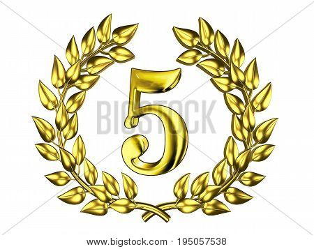 Illustration for the anniversary celebration - Golden figure of 5 (five) in a gold wreath isolated on a white background