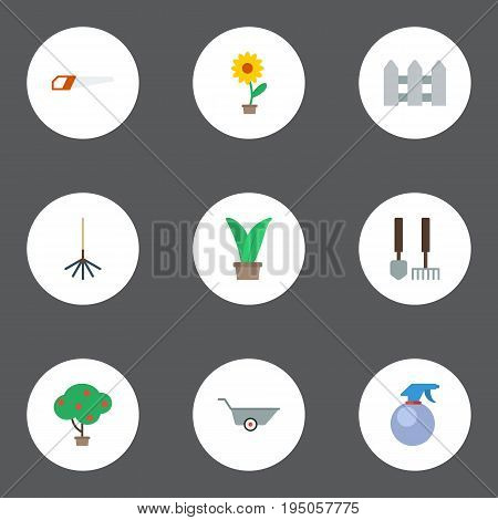 Flat Icons Tools, Flowerpot, Hacksaw And Other Vector Elements. Set Of Gardening Flat Icons Symbols Also Includes Hedge, Fence, Garden Objects.