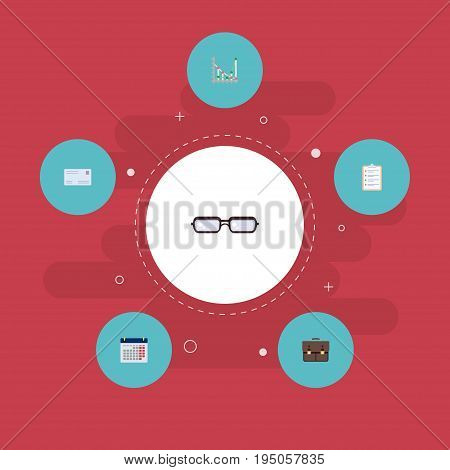 Flat Icons Diagram, Task List, Envelope And Other Vector Elements. Set Of Business Flat Icons Symbols Also Includes Task, Case, Portfolio Objects.